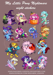 Size: 2074x2891   Tagged: safe, artist:wilvarin-liadon, applejack, derpy hooves, fluttershy, lyra heartstrings, pinkie pie, princess cadance, princess celestia, princess luna, queen chrysalis, rainbow dash, rarity, trixie, twilight sparkle, oc, oc:fluffle puff, alicorn, bat pony, cat, changeling, changeling queen, earth pony, ladybug, nymph, pegasus, pony, unicorn, angry, ballerina, bipedal, blushing, bow, broom, brown background, candy, cauldron, cheese, cheeselegs, chibi, clothes, costume, cute, cutealis, cutedance, cutelestia, dashabetes, derpabetes, diapinkes, diatrixes, eyes closed, female, flufflebetes, fluffy, flutterbat, flying, flying broomstick, hat, jackabetes, leg in air, looking at you, lunabetes, lyrabetes, mummy, nightmare night, one eye closed, open mouth, pirate, pirate dash, pumpkin, queen swissalis, race swap, raribetes, shyabates, shyabetes, simple background, sitting, smiling, spread wings, sticker, tutu, twiabetes, underhoof, witch, witch hat