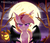 Size: 1600x1371 | Tagged: dead source, safe, artist:spookyle, oc, oc only, oc:pumpkin patch, bat pony, pony, bat pony oc, ear fluff, fangs, female, freckles, full moon, glare, halloween, headband, holiday, looking at you, mare, moon, night, night sky, pumpkin, purple eyes, sky, slit eyes, solo, spread wings, starry night, tree, wings