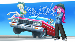 Size: 1920x1080 | Tagged: artist:uotapo, bracelet, car, chevrolet, chevrolet impala, clothes, derpy hooves, edit, equestria girls, grin, hat, high heels, looking at you, lowrider, lyra heartstrings, midriff, pinkie pie, rapper pie, safe, smiling, sunglasses, wallpaper, wallpaper edit