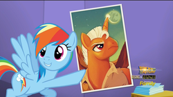 Size: 1920x1080 | Tagged: safe, screencap, rainbow dash, the one where pinkie pie knows, buck rogers, doc savage, flash gordon, lip bite, poster, pulp hero, pulp style, smash fortune