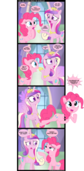 Size: 1600x3225 | Tagged: safe, artist:coltsteelstallion, pinkie pie, princess cadance, the one where pinkie pie knows, breaking the fourth wall, comic, dialogue, floppy ears, fourth wall, fourth wall destruction, frown, open mouth, pinkie promise, shocked, speech bubble, spread wings, that was fast, underhoof, wide eyes, wings