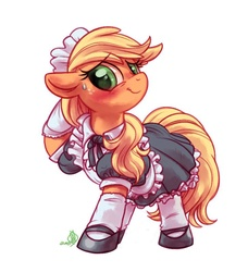 Size: 729x800 | Tagged: safe, artist:whitediamonds, applejack, earth pony, pony, blushing, clothes, cute, dress, embarrassed, female, floppy ears, jackabetes, looking at you, maid, mare, mary janes, simple background, skirt, smiling, socks, solo, stockings, sweat, sweatdrop, white background