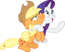 Size: 5006x4000 | Tagged: safe, artist:jeatz-axl, applejack, rarity, made in manehattan, .svg available, absurd resolution, cowboy hat, duo, floppy ears, freckles, hat, hug, lidded eyes, neck hug, open mouth, ponyscape, puffy cheeks, raised hoof, simple background, stetson, transparent background, vector