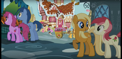 Size: 1920x932 | Tagged: safe, screencap, apple cobbler, berry punch, berryshine, blues, chance-a-lot, creme brulee, daisy, derpy hooves, dinky hooves, flower wishes, goldengrape, lightning bolt, lily, lily valley, noteworthy, pinkie pie, pipsqueak, roseluck, sir colton vines iii, white lightning, pegasus, pony, the one where pinkie pie knows, apple family member, background pony, carrot, cart, colt, female, flower trio, food, male, mare, raised hoof, stallion, sugarcube corner, underhoof