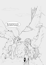 Size: 3569x5028 | Tagged: safe, artist:silfoe, princess celestia, princess luna, oc, oc:golden vellum, earth pony, pony, unicorn, comic:ascension, canterlot, comic, earth pony celestia, earth pony luna, female, grayscale, male, mare, monochrome, origin story, race swap, stallion, younger