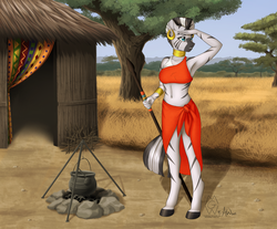 Size: 3813x3161 | Tagged: safe, artist:fairdahlia, artist:mykegreywolf, zecora, zebra, anthro, unguligrade anthro, africa, armpits, belly button, campfire, cauldron, clothes, collaboration, female, hut, midriff, savanna, side slit, skirt, solo, spear, traditional dress, village