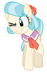 Size: 3575x5459 | Tagged: safe, artist:masem, coco pommel, made in manehattan, .ai available, absurd resolution, cocobetes, cute, female, grin, raised hoof, simple background, smiling, solo, transparent background, vector, wink