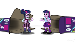 Size: 3500x2000 | Tagged: safe, artist:avastindy, sci-twi, twilight sparkle, alicorn, equestria girls, friendship games, clothes, crystal prep, crystal prep academy uniform, equestria girls logo, lego, lego friends, mini-doll, school uniform, simple background, toy, twilight sparkle (alicorn), twolight, white background