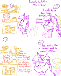 Size: 4779x6013   Tagged: safe, artist:adorkabletwilightandfriends, twilight sparkle, oc, oc:marie, alicorn, pony, comic:adorkable twilight and friends, absurd resolution, adorkable twilight, comic, fast food, female, hay burger, lineart, mare, sketch, slice of life, twilight sparkle (alicorn)