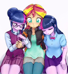 Size: 1909x2064 | Tagged: dead source, safe, artist:ryou14, sci-twi, sunset shimmer, twilight sparkle, equestria girls, friendship games, bowtie, clothes, counterparts, crystal prep academy, crystal prep academy uniform, crystal prep shadowbolts, cute, eyes closed, female, glasses, leather jacket, lesbian, magical trio, ot3, pleated skirt, polyamory, school uniform, scitwishimmer, shipping, skirt, sunset twiangle, sunsetsparkle, trio, twilight sparkle (alicorn), twilight's counterparts, twolight