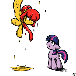 Size: 1024x1024 | Tagged: safe, artist:oakenchi, twilight sparkle, oc, oc:goldie, goo pony, lamia, original species, slimia, female, filly, filly twilight sparkle, imminent vore, kitchen eyes, licking, licking lips, tongue out, younger