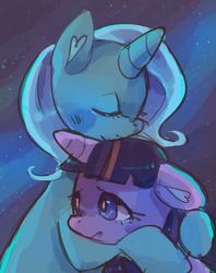 Size: 1280x1613 | Tagged: safe, artist:cherivinca, trixie, twilight sparkle, pony, unicorn, comforting, eyes closed, female, hug, lesbian, mare, shipping, twixie