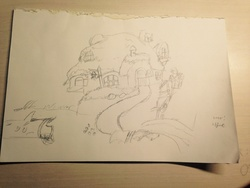 Size: 1600x1200 | Tagged: fluttershy's cottage, monochrome, safe, sketch, traditional art, treehouse