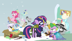 Size: 780x450 | Tagged: safe, artist:dm29, bon bon, coco pommel, derpy hooves, dj pon-3, doctor whooves, gilda, lemon hearts, lyra heartstrings, minuette, moondancer, octavia melody, pinkie pie, rainbow dash, rarity, smooze, spike, sweetie drops, time turner, trouble shoes, twilight sparkle, twinkleshine, vinyl scratch, alicorn, griffon, pony, twittermite, amending fences, appleoosa's most wanted, bloom and gloom, canterlot boutique, castle sweet castle, do princesses dream of magic sheep, made in manehattan, make new friends but keep discord, party pooped, princess spike (episode), rarity investigates, slice of life (episode), tanks for the memories, the cutie map, the lost treasure of griffonstone, alternate hairstyle, background six, bowtie, box, cardboard box, charlie brown, clothes, crossing the memes, crying, derpysaur, detective rarity, dress, female, fusion, glasses, hat, i didn't listen, i'm pancake, implied rarijack, lyrabon (fusion), mare, meme, new crown, ocular gushers, peanuts, princess dress, punklight sparkle, sled, snow, staff, staff of sameness, sweater, the meme continues, the ride never ends, the story so far of season 5, this isn't even my final form, top hat, twilight scepter, twilight sparkle (alicorn), unamused, volumetric mouth, wall of tags