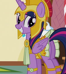 Size: 970x1078 | Tagged: safe, screencap, twilight sparkle, alicorn, pony, scare master, adorkable, armor, armor skirt, athena, athena sparkle, clothes, costume, cropped, cute, excited, female, folded wings, grin, mare, nightmare night, plot, skirt, skirt lift, smiling, solo, tail upskirt, technically an upskirt shot, twibutt, twilight sparkle (alicorn), upskirt, wings