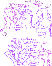 Size: 4779x6013   Tagged: safe, artist:adorkabletwilightandfriends, rarity, twilight sparkle, alicorn, pony, comic:adorkable twilight and friends, absurd resolution, adorkable twilight, comic, eyes closed, fat joke, female, floppy ears, frown, generosity, humor, lineart, lip bite, mare, monochrome, open mouth, raised eyebrow, sketch, slice of life, smiling, twilight sparkle (alicorn), unamused
