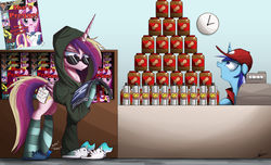 Size: 3000x1827 | Tagged: safe, artist:ncmares, minuette, princess cadance, princess celestia, queen chrysalis, shining armor, twilight sparkle, alicorn, pony, unicorn, ask majesty incarnate, equestria daily, the one where pinkie pie knows, cheese whiz, clothes, convenience store, cravings, disguise, early pregnancy, female, floppy ears, glasses, hoodie, implied infidelity, magazine, mare, my eyes are up here, open mouth, peanut butter, pregnancy cravings, pregnant, pyramid of stuff, seth meyers, slippers, socks, striped socks, sunglasses, sweater, tabloid