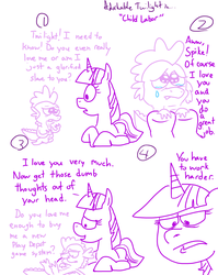 Size: 1280x1611   Tagged: safe, artist:adorkabletwilightandfriends, spike, twilight sparkle, pony, comic:adorkable twilight and friends, adorkable twilight, comic, crying, humor, lineart, love, sad, sketch, slice of life, spikelove