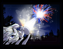 Size: 1179x911 | Tagged: safe, artist:great-5, oc, oc only, oc:stargazer, pony, unicorn, 4th of july, face down ass up, fart, female, fireworks, lightmare, mare, murica, patriotic, united states, wip