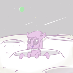 Size: 860x860 | Tagged: safe, artist:yipsy, oc, oc only, alien, crater, monster mare, moon, multiple eyes, planet, third eye