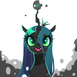 Size: 1000x1000 | Tagged: safe, artist:9seconds, queen chrysalis, changeling, changeling queen, bust, fangs, female, looking at you, open mouth, portrait, solo