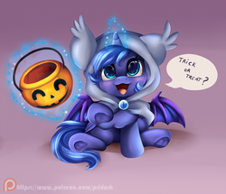 Size: 1454x1252 | Tagged: safe, artist:pridark, princess luna, oc, bat pony, pony, :3, bat pony oc, bat wings, blushing, cloak, clothes, costume, cute, filly, glowing horn, hnnng, hooded cape, levitation, looking at you, looking up, lunabat, lunabetes, magic, nightmare night, nightmare night costume, open mouth, patreon, patreon logo, pointing, pridark is trying to murder us, pumpkin bucket, race swap, sitting, smiling, solo, telekinesis, trick or treat, underhoof, weapons-grade cute, woona
