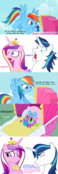 Size: 1000x3001 | Tagged: safe, artist:tardifice, artist:xebck, edit, edited screencap, hundreds of users filter this tag, screencap, princess cadance, rainbow dash, shining armor, spike, the mysterious mare do well, the one where pinkie pie knows, angry, baby, female, implied foalcon, implied sex, infidelity, love triangle, male, not the father, princess cheatdance, screencap comic, shipping, spikedance, straight, stroller, you are not the father