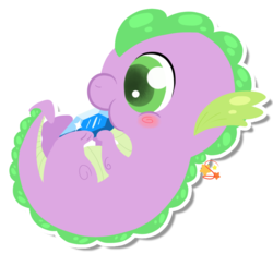 Size: 718x668 | Tagged: safe, artist:mochi--pon, spike, dragon, baby, baby dragon, baby spike, blushing, cute, gem, green eyes, hnnng, male, newborn, nibbling, nom, signature, solo, spikabetes, weapons-grade cute, younger