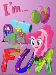 Size: 3000x4000 | Tagged: safe, artist:stinkehund, part of a set, pinkie pie, balloon, female, fluffy, paint, paintbrush, party cannon, solo