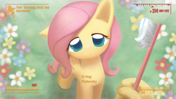 Size: 1920x1080 | Tagged: :<, artist:howxu, cute, fallout, female, floppy ears, fluttershy, hand, harmony, hnnng, howxu is trying to murder us, hud, incoming hug, lidded eyes, looking at you, looking up, :o, offscreen character, open mouth, pegasus, pipboy, pony, pov, radiation, safe, shyabetes, solo, toothbrush, toothpaste, wallpaper, weapons-grade cute