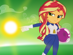 Size: 2000x1500 | Tagged: safe, artist:darthlena, sunset shimmer, equestria girls, clothes, cosplay, costume, crossover, dragon ball, dragon ball (object), gloves, magic, raised leg, solo, vegeta