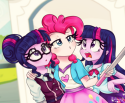 Size: 1090x900 | Tagged: safe, artist:lucy-tan, pinkie pie, sci-twi, twilight sparkle, equestria girls, friendship games, clothes, crystal prep academy, crystal prep academy uniform, crystal prep shadowbolts, cute, diapinkes, duckface, female, glasses, open mouth, school uniform, selfie, selfie stick, skirt, twiabetes, twilight sparkle (alicorn), twolight