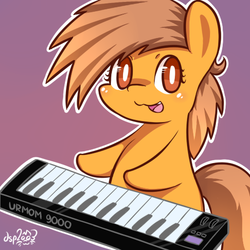 Size: 512x512 | Tagged: safe, artist:dsp2003, oc, oc only, oc:meadow stargazer, earth pony, pony, :3, bipedal, chibi, cute, female, keyboard, looking at you, musical instrument, open mouth, solo, style emulation, synthesizer