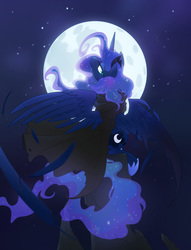 Size: 3900x5100 | Tagged: absurd res, alicorn, artist:equestria-prevails, cloak, clothes, feather, moon, night, pony, princess luna, safe, sitting, solo, stars