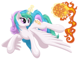 Size: 3200x2440   Tagged: safe, artist:ohemo, princess celestia, pony, cute, cutelestia, female, flying, looking back, magic, mare, messy mane, missing accessory, simple background, solo, spread wings, sun, sun work, tangible heavenly object, transparent background