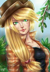 Size: 1100x1600 | Tagged: safe, artist:skycen, applejack, human, alternative cutie mark placement, clothes, cowboy hat, cutie mark, facial cutie mark, female, hat, humanized, looking at you, signature, solo, stetson