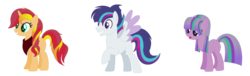 Size: 1600x484 | Tagged: safe, artist:essentialnightfall, artist:luluflaire, artist:xx-chanour, oc, oc only, oc:cloud nine, oc:fizzy cider, oc:maudglimmer, oc:nonpareil, crack shipping, magical lesbian spawn, offspring, parent:applejack, parent:maud pie, parent:soarin', parent:starlight glimmer, parent:sunset shimmer, parent:twilight sparkle, parents:appleshimmer, parents:maudglimmer, parents:soarlight