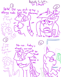 Size: 1280x1611   Tagged: safe, artist:adorkabletwilightandfriends, spike, twilight sparkle, alicorn, pony, adorkable twilight, allergies, book, comic, female, lineart, male, mare, reading, slice of life, twilight sparkle (alicorn)