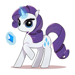 Size: 1000x1000 | Tagged: safe, artist:9seconds, rarity, unicorn, female, gem, glowing horn, looking at you, magic, mare, raised hoof, simple background, solo, telekinesis, white background