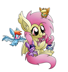 Size: 1024x1088 | Tagged: safe, artist:amberlea-draws, applejack, fluttershy, pinkie pie, rainbow dash, rarity, twilight sparkle, bat pony, pony, cute, dashabetes, diapinkes, female, flutterbat, fluttermom, jackabetes, mare, micro, raribetes, shyabates, shyabetes, simple background, tiny ponies, transparent background, twiabetes, watermark, weapons-grade cute
