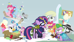 Size: 1200x692 | Tagged: safe, artist:dm29, apple bloom, applejack, big macintosh, bon bon, coco pommel, derpy hooves, dj pon-3, doctor whooves, gilda, lemon hearts, lyra heartstrings, minuette, moondancer, octavia melody, pinkie pie, princess cadance, rainbow dash, rarity, scootaloo, shining armor, smooze, spike, sweetie belle, sweetie drops, time turner, trouble shoes, twilight sparkle, twinkleshine, vinyl scratch, alicorn, griffon, pony, twittermite, amending fences, appleoosa's most wanted, bloom and gloom, brotherhooves social, canterlot boutique, castle sweet castle, crusaders of the lost mark, do princesses dream of magic sheep, made in manehattan, make new friends but keep discord, party pooped, princess spike (episode), rarity investigates, slice of life (episode), tanks for the memories, the cutie map, the lost treasure of griffonstone, the one where pinkie pie knows, alternate hairstyle, background six, bedroom eyes, bowtie, box, cardboard box, charlie brown, clothes, crossing the memes, crying, cutie mark, cutie mark crusaders, derpysaur, detective rarity, dress, female, filly, fusion, glasses, hat, i didn't listen, i'm pancake, implied rarijack, it happened, lyrabon (fusion), mare, meme, new crown, ocular gushers, orchard blossom, peanuts, pest control gear, princess dress, punklight sparkle, sled, snow, staff, staff of sameness, sweater, the cmc's cutie marks, the meme continues, the ride never ends, the story so far of season 5, this isn't even my final form, top hat, twilight scepter, twilight sparkle (alicorn), unamused, volumetric mouth, wig