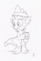 Size: 2726x4029   Tagged: safe, artist:dfectivedvice, spike, clothes, costume, frankenstein's monster, grayscale, holding, male, monochrome, nightmare night costume, sketch, solo, traditional art