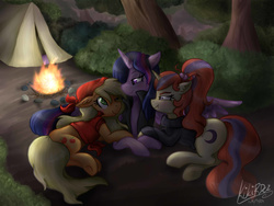 Size: 2400x1800 | Tagged: safe, artist:kikirdcz, applejack, moondancer, twilight sparkle, alicorn, pony, backwards cutie mark, campfire, camping, clothes, commission, female, fire, forest, lesbian, looking at each other, mare, one eye closed, scrunchy face, shipping, signature, sweater, tent, trio, twijack, twilight sparkle (alicorn)