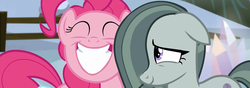 Size: 1920x672   Tagged: safe, screencap, marble pie, pinkie pie, hearthbreakers, cute, pie twins, sisters, smiling, twins