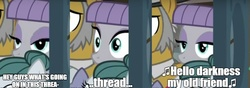 Size: 1052x370   Tagged: safe, edit, edited screencap, screencap, maud pie, hearthbreakers, caption, hello darkness my old friend, reaction image, simon and garfunkel, the sound of silence, what's going on in this thread, wide eyes