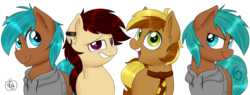 Size: 2048x775   Tagged: safe, artist:notenoughapples, oc, oc only, oc:apples, oc:peanut, oc:vulgar, grin, rule 63, self ponidox, simple background, smiling, transparent background