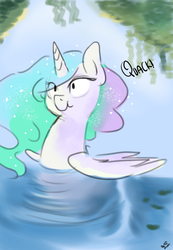 Size: 2700x3900 | Tagged: safe, artist:mrscurlystyles, princess celestia, alicorn, pony, :t, aliduck, behaving like a bird, behaving like a duck, ducklestia, female, funny, leaves, mare, pond, quack, scrunchy face, smiling, solo, swanlestia
