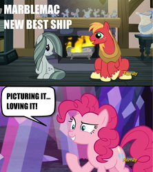 Size: 1279x1440   Tagged: safe, screencap, big macintosh, marble pie, pinkie pie, earth pony, pony, hearthbreakers, cute, image macro, male, marblebetes, marblemac, meme, pie twins, shipping, shipping fuel, sisters, stallion, straight, twins