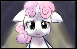 Size: 800x517 | Tagged: safe, artist:starshinebeast, sweetie belle, crying, cute, dark, filly, floppy ears, sad, solo