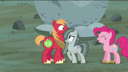 Size: 1920x1080   Tagged: safe, screencap, big macintosh, marble pie, pinkie pie, earth pony, pony, hearthbreakers, discovery family logo, eye contact, eyes closed, frown, male, nervous, open mouth, pie twins, raised hoof, shipper on deck, shipping fuel, siblings, sisters, smiling, stallion, twins, wide eyes